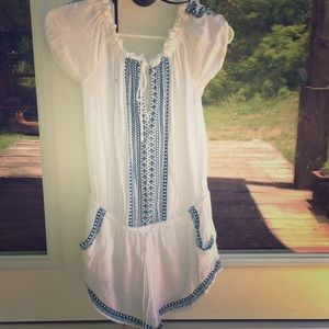 XS Rip curl white and blue bathing suit cover up